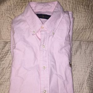 Ralph Lauren pink and white striped shirt